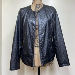 Dana Buchman Quilted Faux Moto Leather Jacket Sm